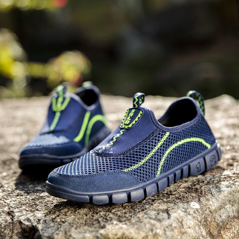 2020 yaz Kaliteli sandalia masculina erkek sandalet dağ açık su ayakkabı nefes yürüyüş roman adam örgü içi boş