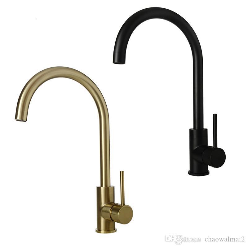 Cuisine eau du robinet or brossé Cuisine Noir Robinet mitigeur classique Rotation évier Mélangeur eau