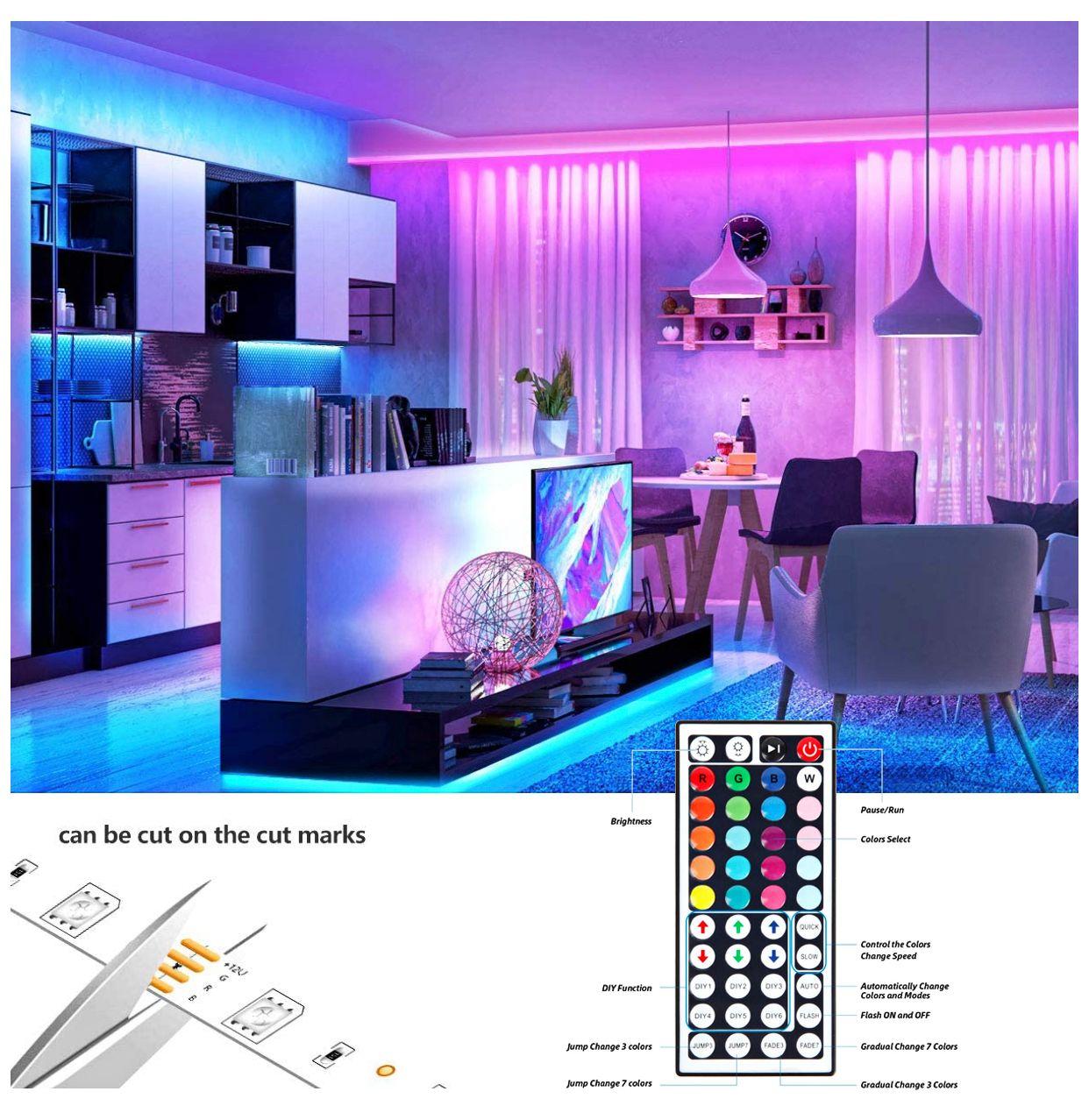 فائقة مشرق ضوء LED قطاع أضواء RGB 16.4Ft / 5M SMD 5050 DC12V مرنة ليه شرائط أضواء 50LED / متر 16Different ثابت الألوان
