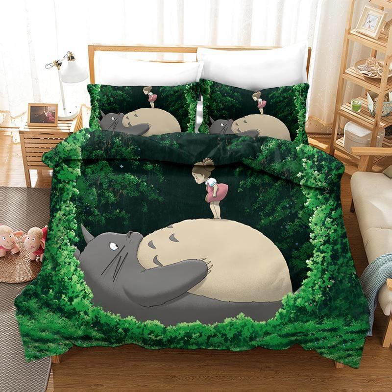 3D Cartoon Totoro Heroes Print Bedding Set Duvet Covers Pillowcases One Piece Comforter Bedding Sets Bedclothes Bed Linen 02