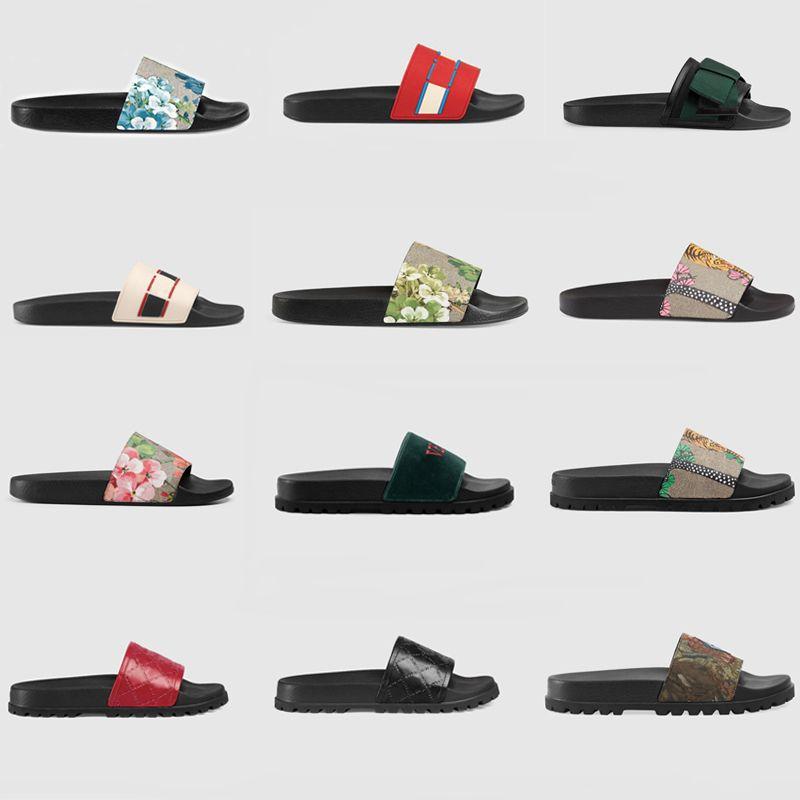 Hommes Designer glisse pantoufles designer tongs femmes sandale Floral brocart hommes pantoufles Gear bas femme rayé plage pantoufles