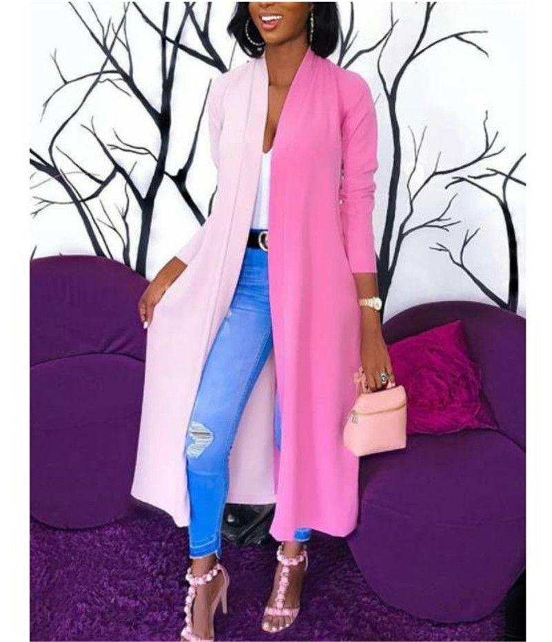 Contraste Cor Designer Jaquetas Mulheres duas cores com painéis Casual Amostra OL solta Cardigan casacos longos casacos Moda