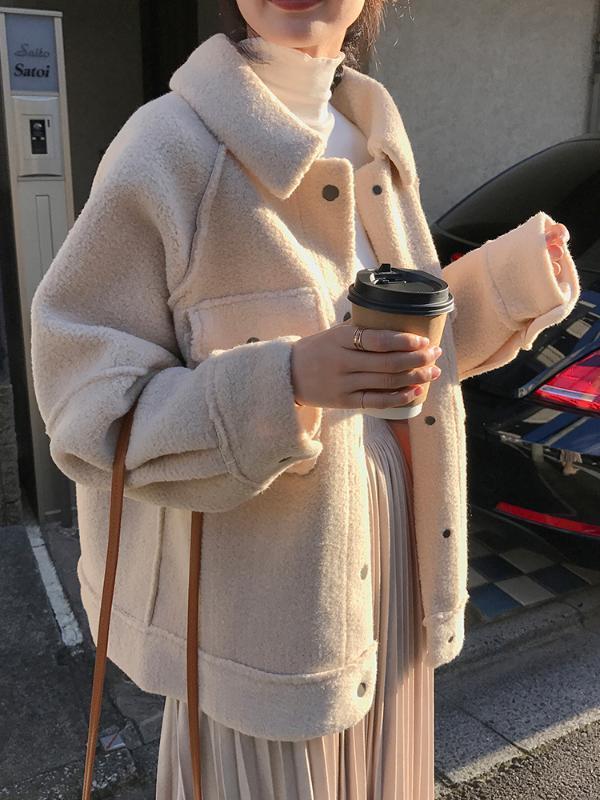 Lamb мех шуба женского утолщение 2020 зима нового свободные плюшевый пиджак рубашка