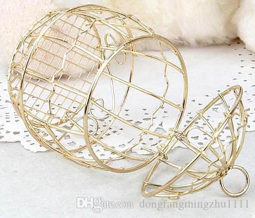 FANSTIC Caja del favor de la boda Europeo creativo Oro Matel Cajas romántico hierro forjado jaula de la boda caja de dulces caja de lata FAVORES DE BODA