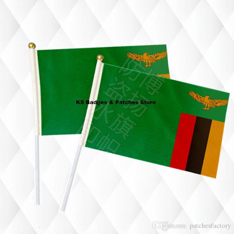 Zambia Hand Held Stick Banderas de tela Bola de seguridad Mano superior Banderas nacionales 14 * 21CM 10pcs a lotLesotho