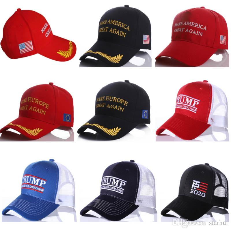 도널드 트럼프 2020 모자 여성 남성 메쉬 야구 모자 여름 만들기 멋진 스냅 백 스포츠 모자 모자 WX9-1354