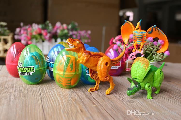 12PCS/ Lot Dinosaur World Dinosaur Egg Deformed Ultraman Funny Easter eggs Help children explore unknown toys