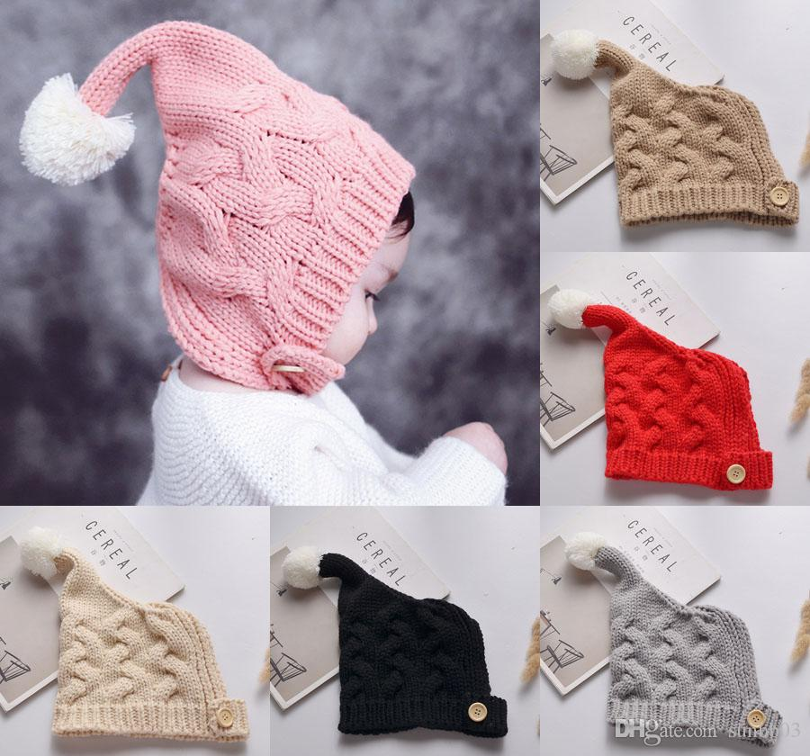 Infant Baby Beanies Kids Children Knitted Hat Baby Cute Wool Ball Tail Girls Autumn Winter Earmuffs Headwear Crochet Warm Caps Hats M208