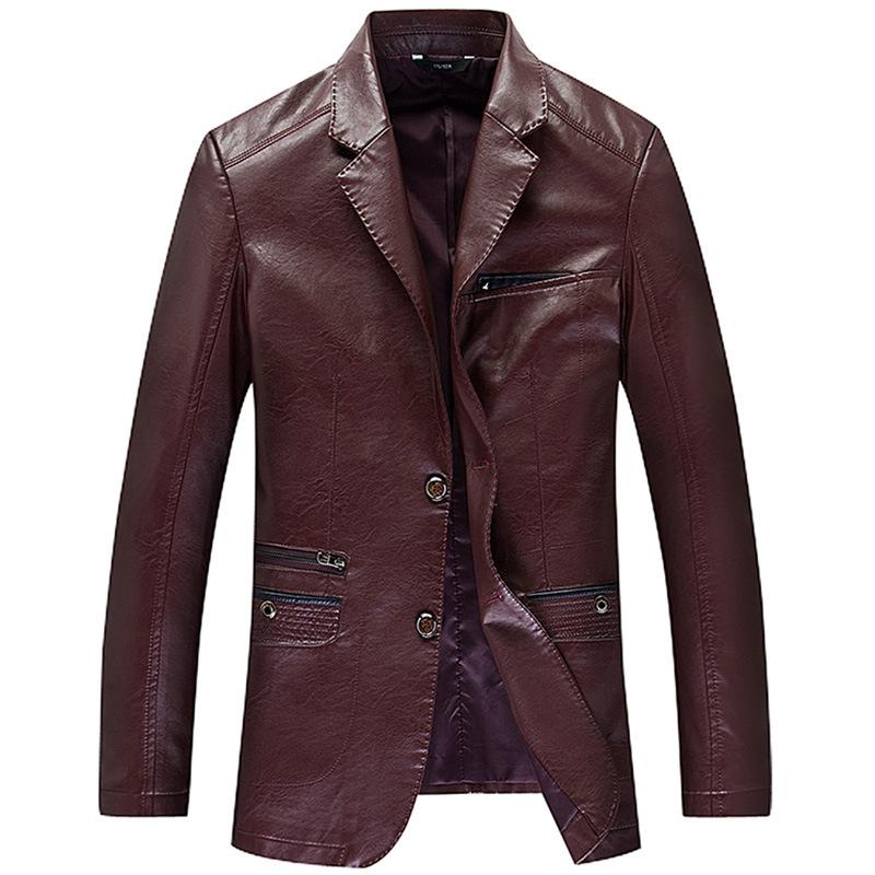 Men Genuine Leather Coats New Arrival Spring 100% Sheep Skin Youth Leather suit Collar Coats Fashion Slim Fit Jacket