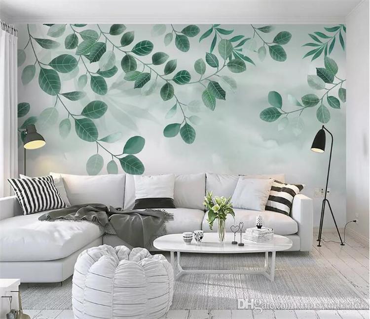 사용자 정의 3D 벽화 배경 동남 아시아 열 대 우림 바나나 잎 사진 TV 벽 벽화 캔버스 벽지 현대