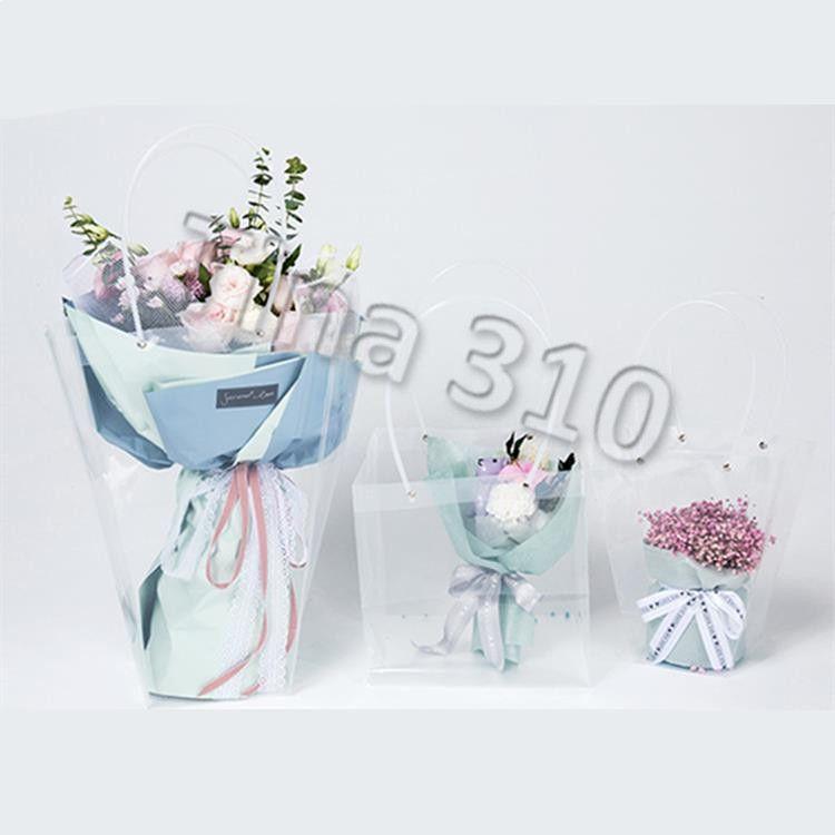 Presente transparente trapezoidal saco de plástico de armazenamento bolsa PVC Bag florista Embalagem Sacos Holiday Party Flowers HandbagsT2I5370