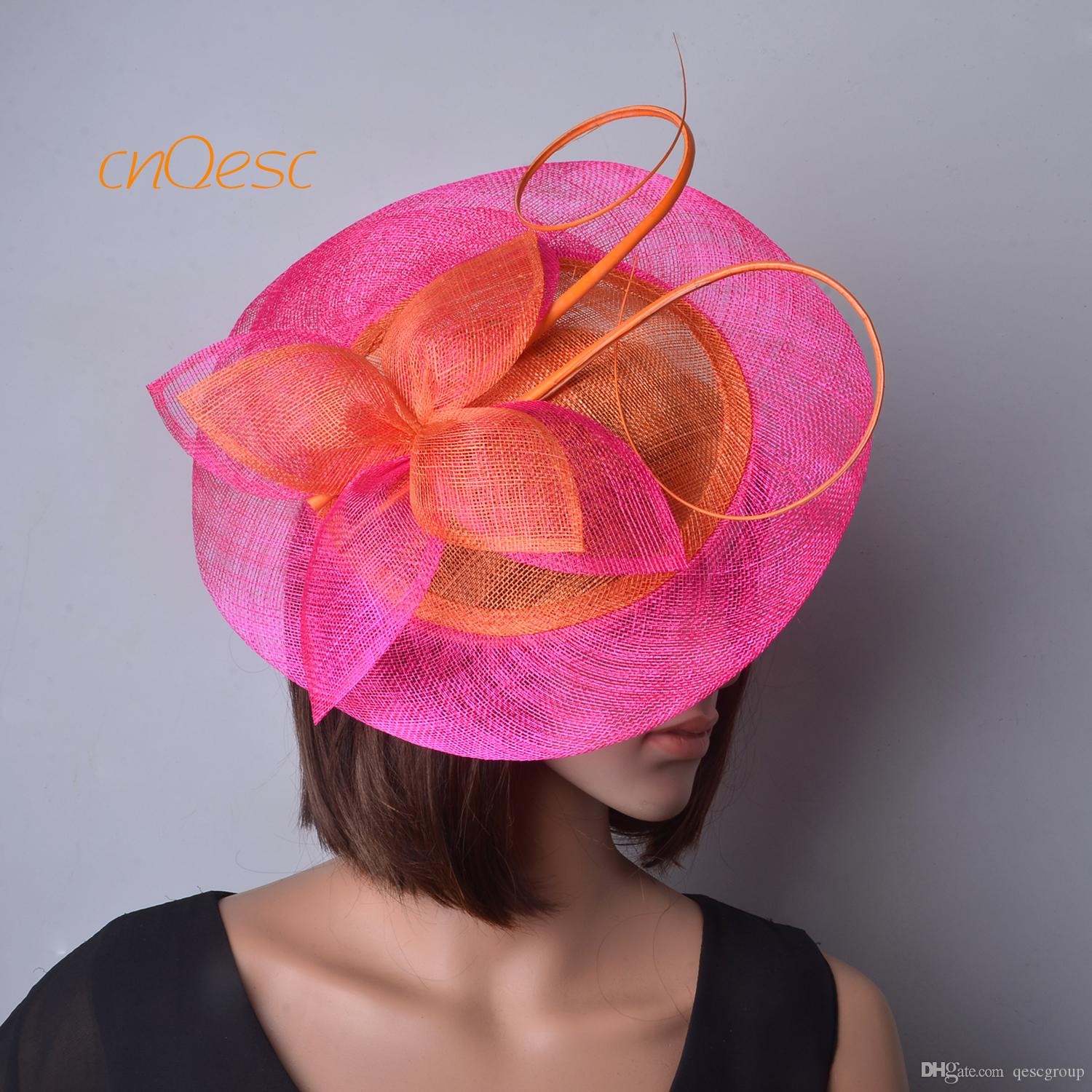 NEW orange hot pink BIG Sinamay Fascinator Hat with long ostrich spine for Races tea party.