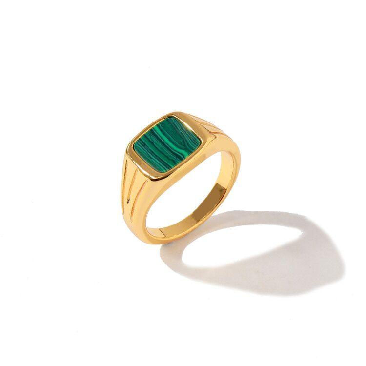 Kadınlar Charm Aşk Yüzük Takı için Güzel Yeni Altın Yüzük Hediye 6 7 8 Moda Yeşil Malakit Yüzük Mizaç