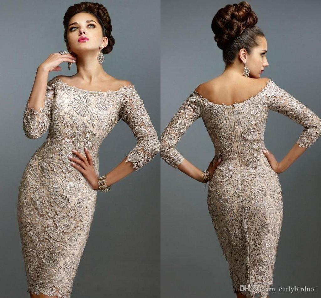 2019 Mother Off Bride Dresses Scoop Full Lace 3/4 Long Sleeves Knee Length Sheath Plus Size Mother Of The Bride Dress
