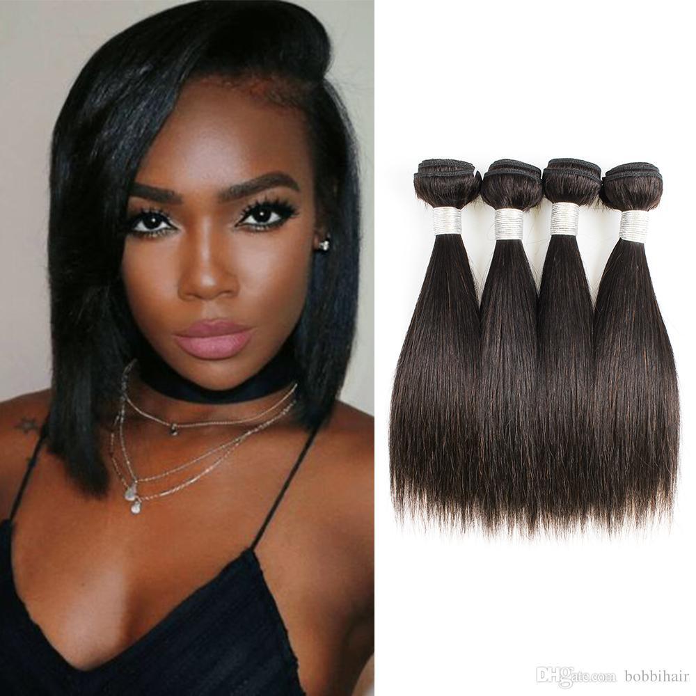 Brazilian Straight Hair Bundles Extensions Short Bob Style 50g/bundle 4 bundles 10-14 Inch Natural Color Virgin Hair 100% Remy Human Hair