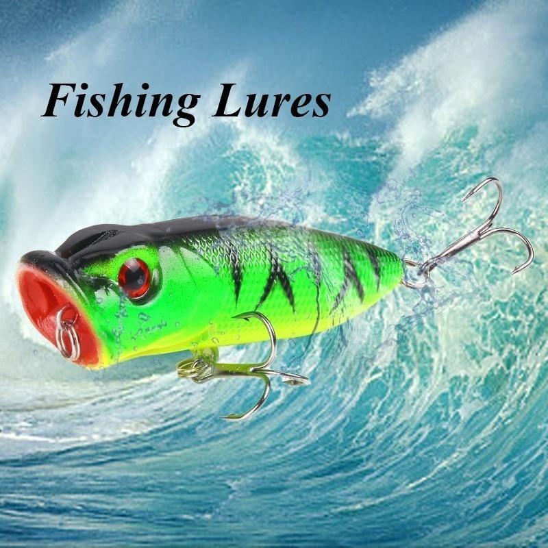 2018 Pêche Leurres Popper appât avec deux crochets graves engins de pêche leurres Kit avec Bass Fishing Lure fishingluresset Kit fishinghook