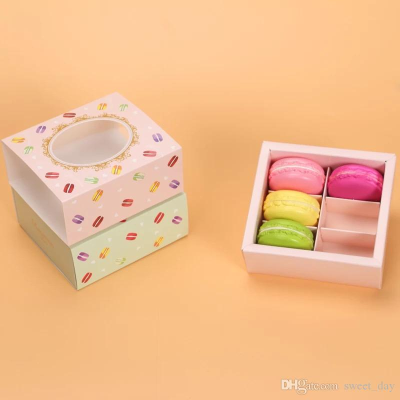 الشحن مجانا الوردي الأخضر نافذة الديكور شفافة معكرون مربع الشوكولاته كوكي الحلوى صناديق macarons التعبئة تفضل العرض