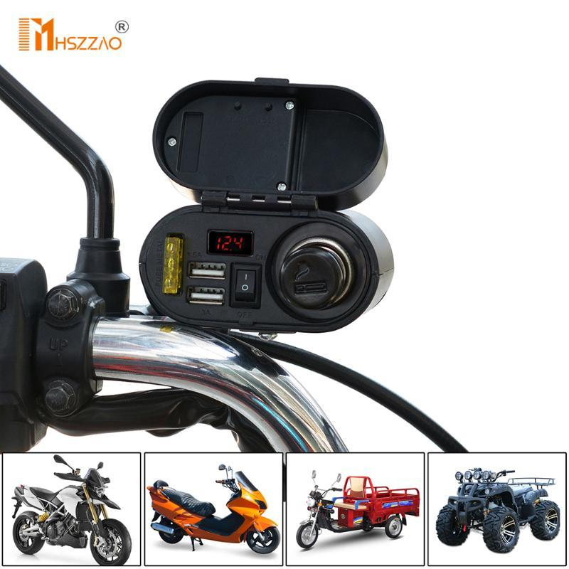 Waterproof 5V-3A Motorcycle Dual USB Charger Cigarette Lighter Handlebar Mount For ATV, Charging Bike Accessories