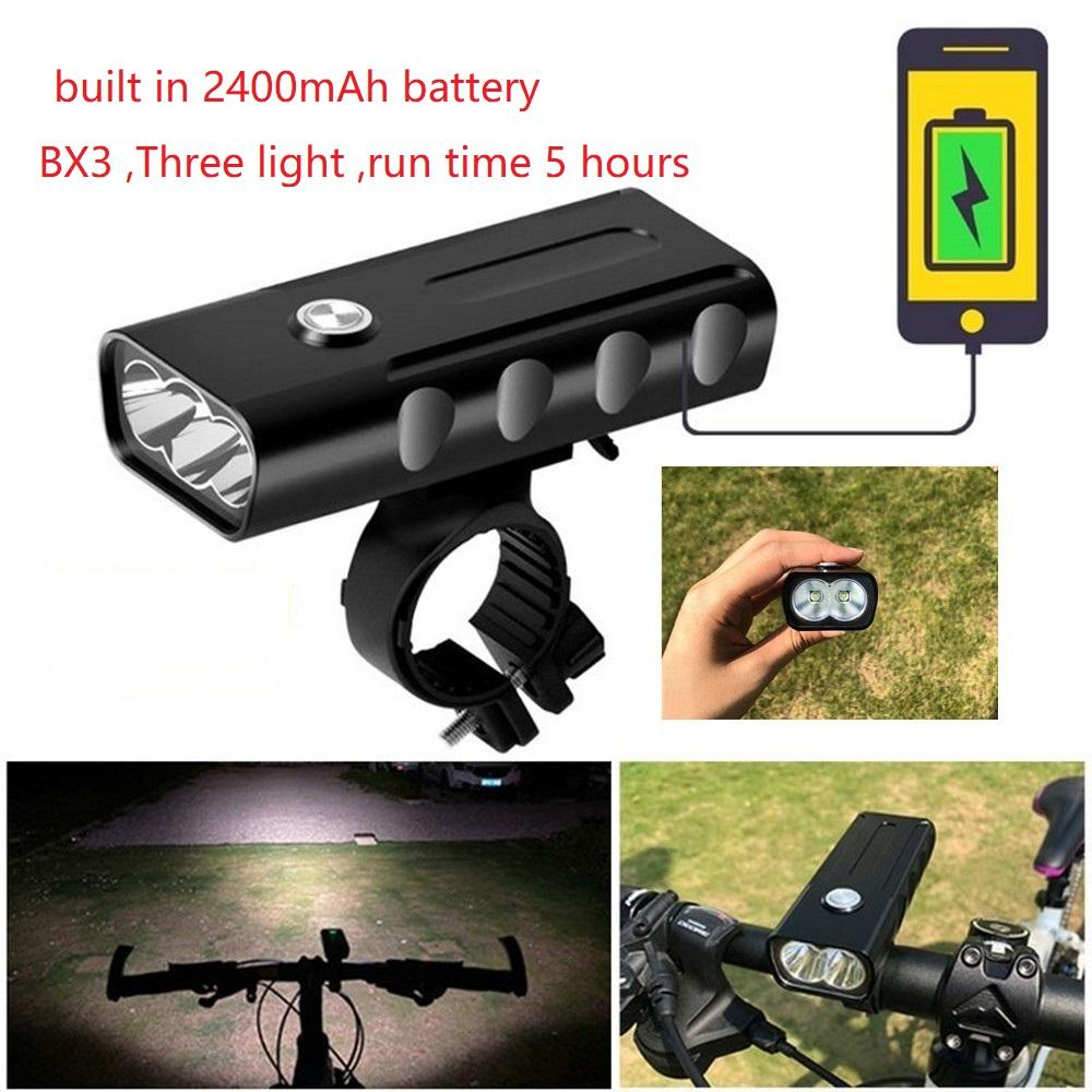 Bicycle BX3 T6 LED Bicycle Light USB Rechargeable Front Lamp 3 Beads Headlight