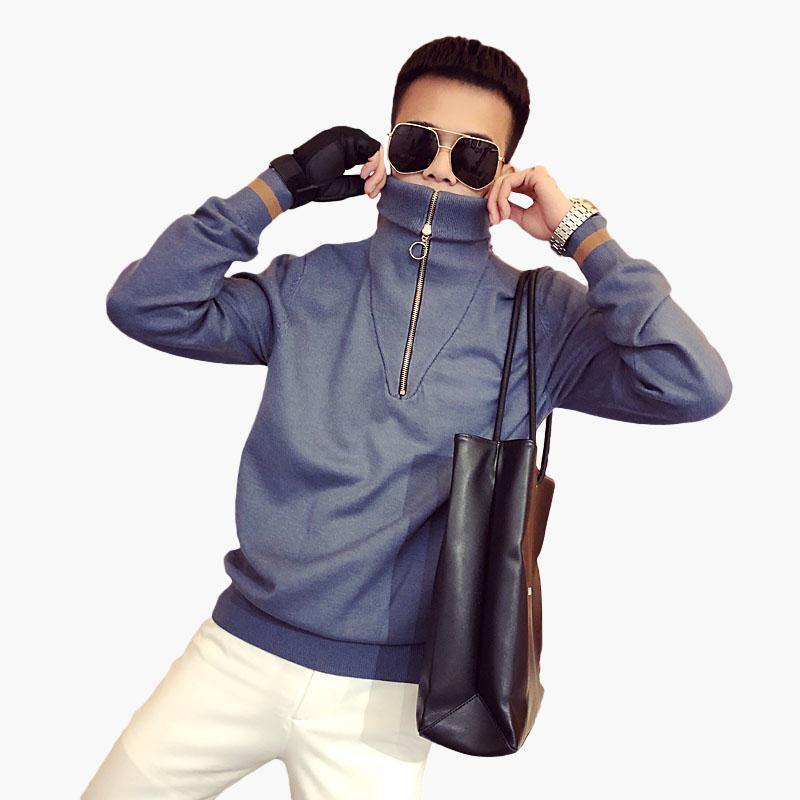 versão masculina coreana da tendência da rede vibrando fast-em flagrante com blusas masculinas de gola alta selvagem fina camisola do sexo masculino