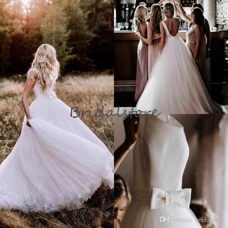 Simple Low Back Country Wedding Dresses A Line Jewel Neckline Tulle Fitted Beach Boho Wedding Dress With Big Bow Cheap Modest Bridal Gowns