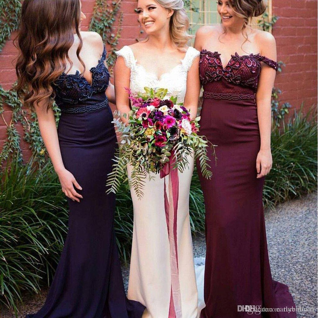 Новые элегантные от плеча бургундия русалка невесты платья платья кружева аппликация бисером формальные платья горничные честь платья на заказ