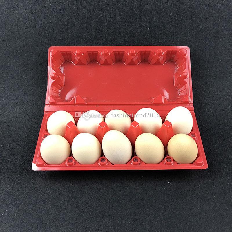 빨간색 플라스틱 달걀 포장 상자 10 그리드 계란 스토리지 박스 주방 계란 컨테이너