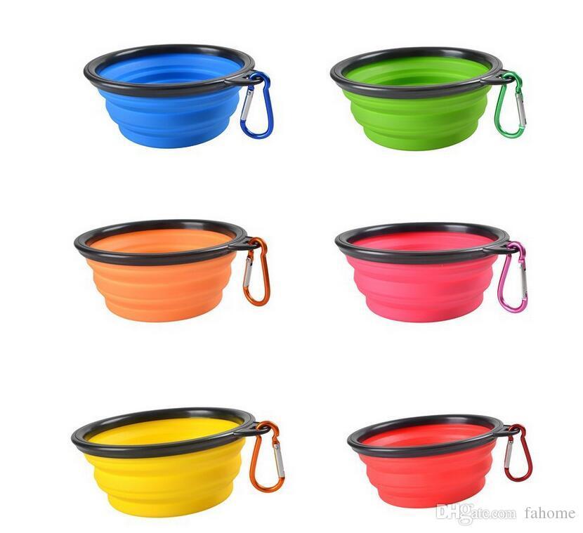 Viaje plegable Pet Dog Cat Feeding Bowl Agua Plato Alimentador Silicona Plegable 8 colores para elegir