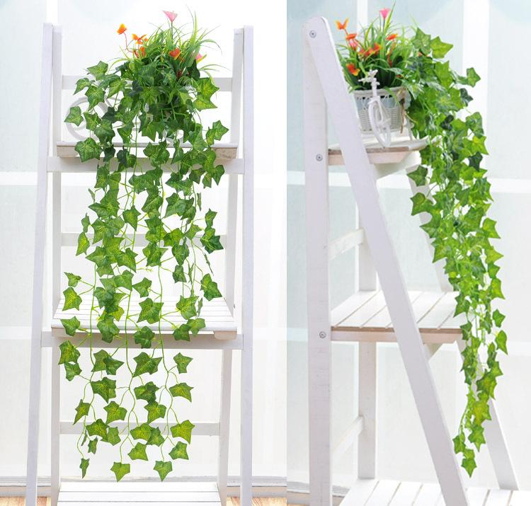 90cm Simulation Ivy Climbing Vines Green Leaf Artificial Silk Virginia Creeper Wall Decoration Home Decor