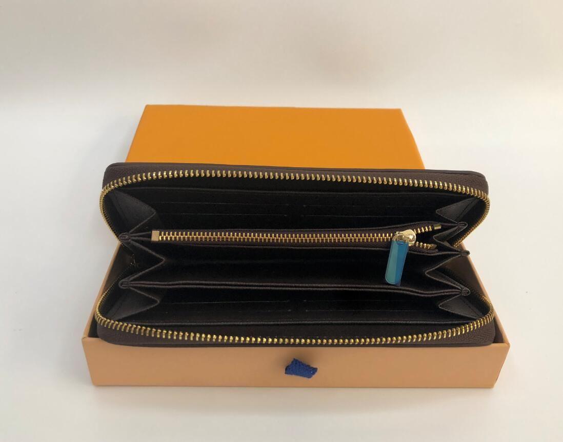 Atacado 6 cores da moda único zíper homens mulheres carteira de couro senhora senhoras longo bolsa com cartão de caixa de laranja 60017