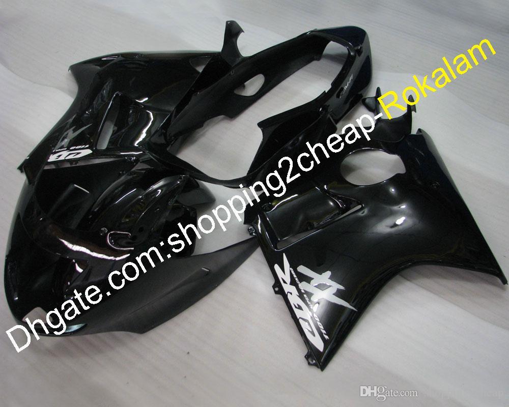혼다 블랙 버드 페어링 용 오토바이 바디 키트 1996 ~ 2007 CBR1100XX 96-07 CBR 1100 XX 전체 세트 블랙 페어링 (사출 성형)