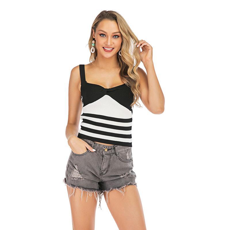 Blanco Negro chaleco a rayas moda anudado sin mangas sin respaldo camisa Sexy Tops 2019 Verano Nueva llegada espalda abierta Tank Tops Camis