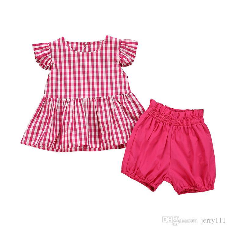 Estate della neonata scherza i vestiti tasto singolo-fila colletto tondo volare maniche Top + shorts rossi 2 pezzi di moda i bambini abiti firmati ragazze JY507