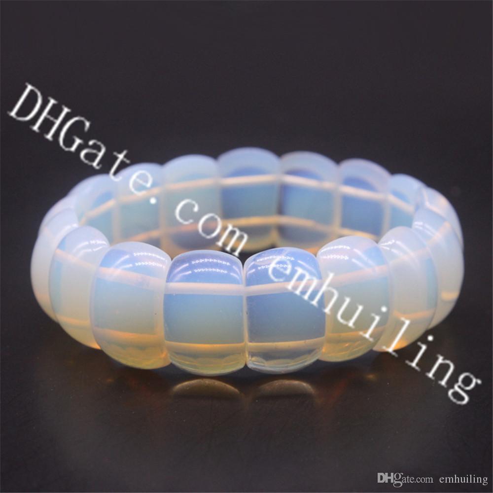 10Pcs Irridescent Opalite Gemstone Bead Bracelet Tribal Imitation 20mm Opal Tumble Crystal Stone Beaded Elasticated Bracelet Healing Jewelry