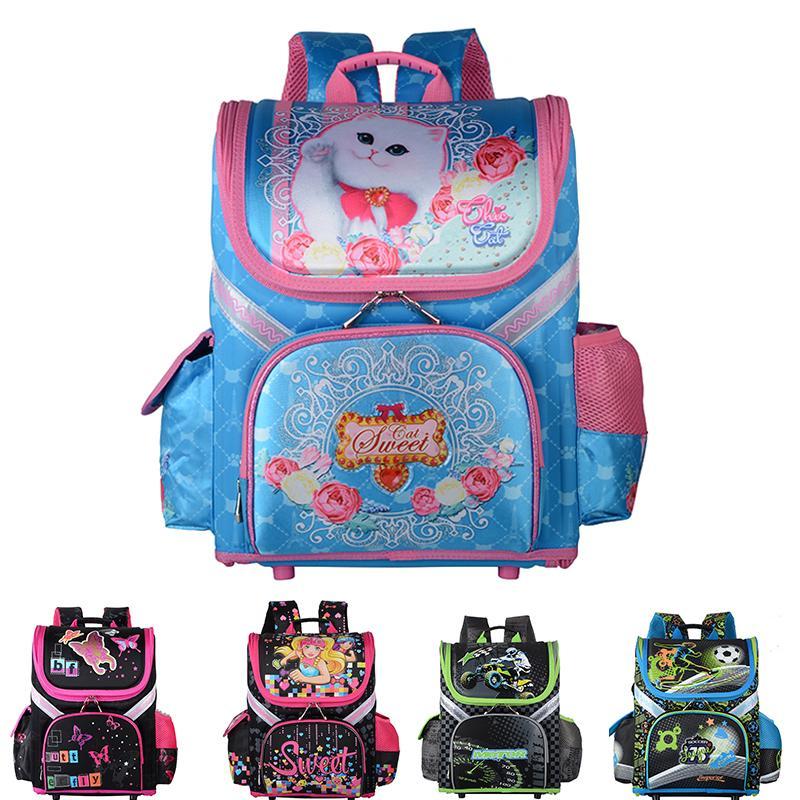 2019 New Bag für Schulkinder Schulrucksack Jungen Mädchen Orthopädische 3D Tier Cat Kinderschultaschen Jungen-Karikatur Knapsack LY191224