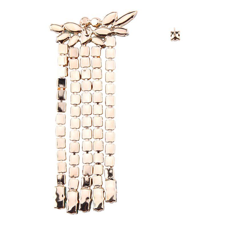 Wholesale- super glittering fashion luxury designer exaggerated full colorful rhinestone crystal asymmetry long tassel stud earring