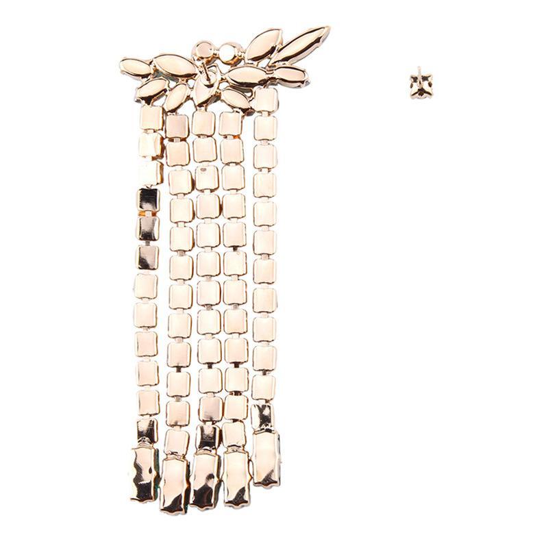 súper al por mayor del diseñador de moda de lujo brillante exagerada completa asimetría cristalina del rhinestone colorido larga borla del perno prisionero