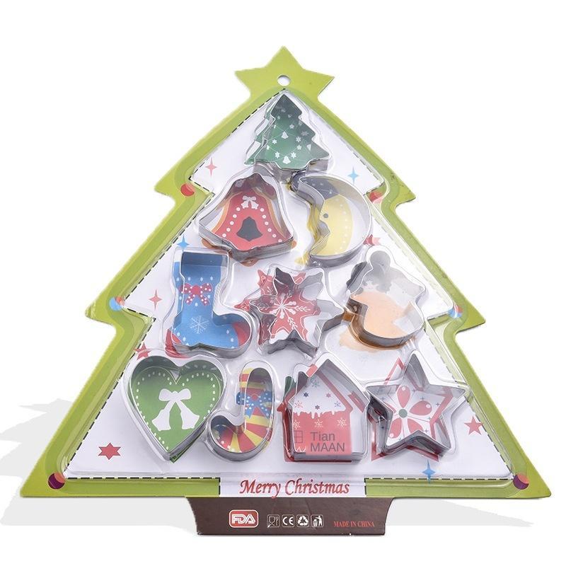 Navidad acero inoxidable del molde de la galleta del árbol de navidad de la galleta molde de cocción herramienta Cookies juego de moldes