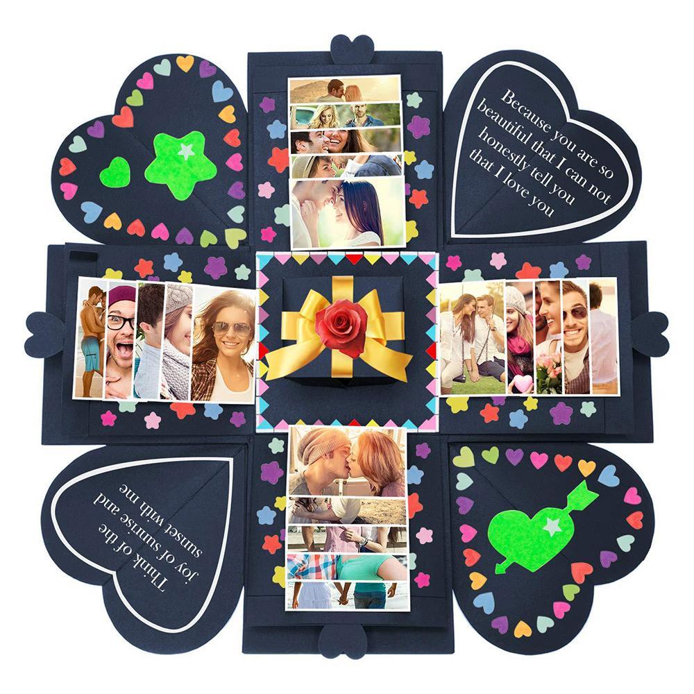 Yıldönümü Scrapbook Yüksek Kalite DIY Fotoğraf Doğum Hediye 15x15x15cm için DIY Sürpriz Aşk Patlama Hediye Kutusu Patlama