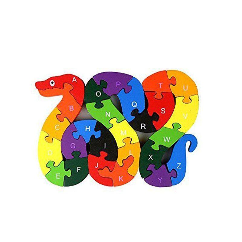 Alphabet Quebra-cabeça Blocos de apartamentos Animal Puzzle de madeira, madeira de serpente letras números Bloco brinquedos para as crianças