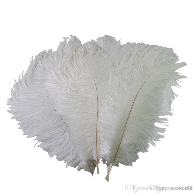 الملونة 12-14 بوصة (30-35 سم) بيضاء أعمدة النعامة الريشة لديكور الحدث محور الزفاف حفل زفاف الديكور احتفالي