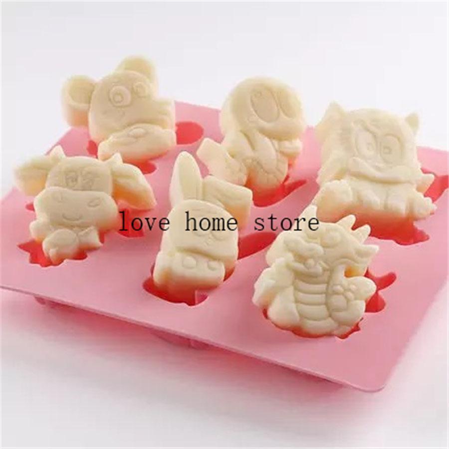 6 in 1 3d forma animale silicone TrayChocolate Candy torta stampi vassoio della muffa di Sugarcraft stampo in silicone Marchio Fab decorazioni per torte