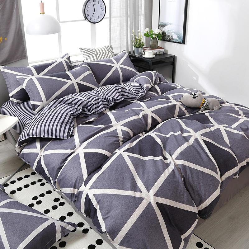 3/4pcs Geometric Pattern Duvet Cover Flat Bed Sheet Pillowcase Bedding Set Soft Skin-friendly Room Decoration Home Textile