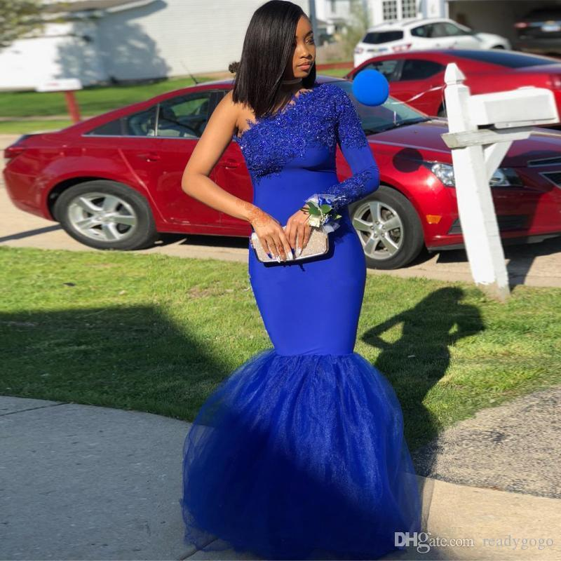 Royal Blue One Shoulder Mermaid Prom Dresses Lace Appliques African Dress Long Sleeve Evening Gowns Plus Size