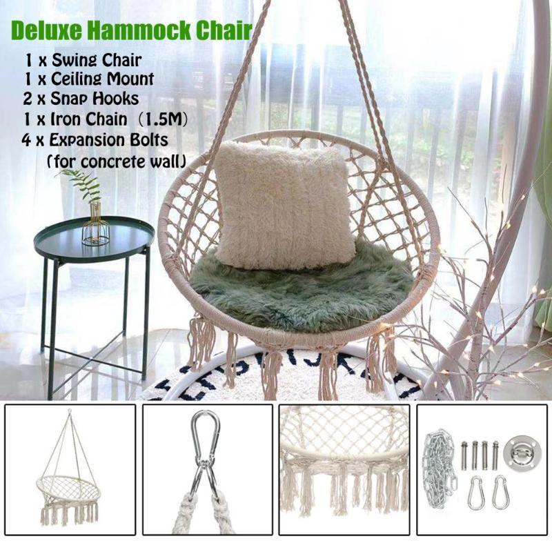 Gardern Deluxe Hammock Swing Hanging Chair Outdoor//indoor With 2 Cushions AU