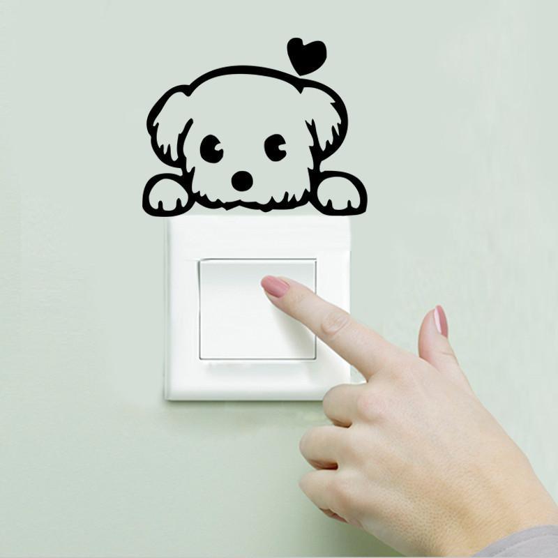 DIY의 재미 귀여운 검은 고양이 스위치 칼 벽지 벽 스티커 홈 장식 침실 아이 방 등 응접실 장식 스티커 Zy327