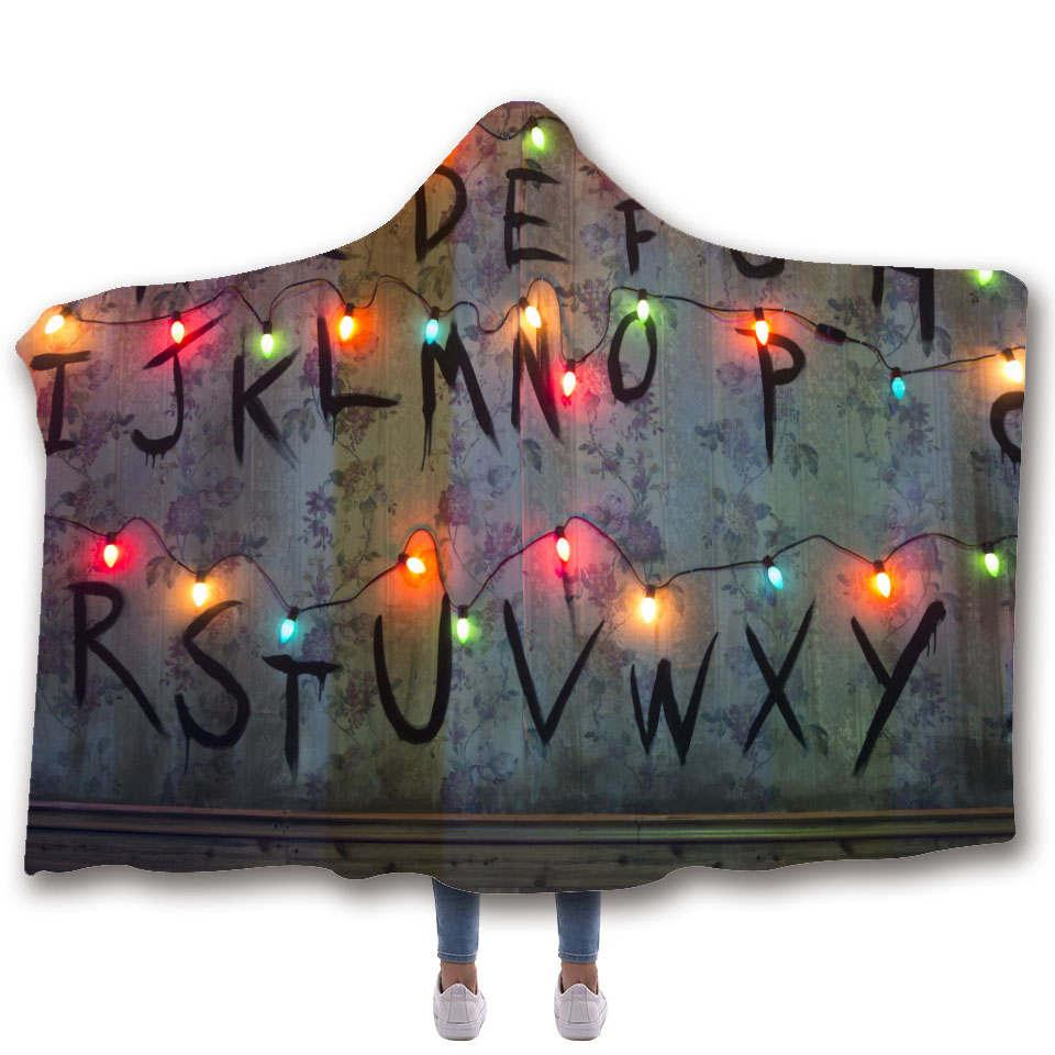 Stranger 3D Things Super Soft Back to School Blanket In Cap Warm Blanket For Couch Throw Travel Hooded Blanket Anime