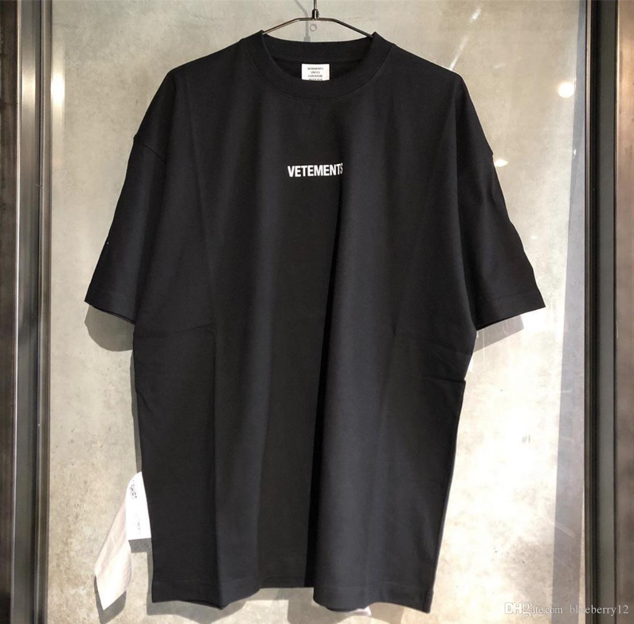 남성 t- 셔츠 Vetements의 t 셔츠 남성 여성 레드 블랙 화이트 큰 태그 Vetements 티 대형 Vetements 티셔츠