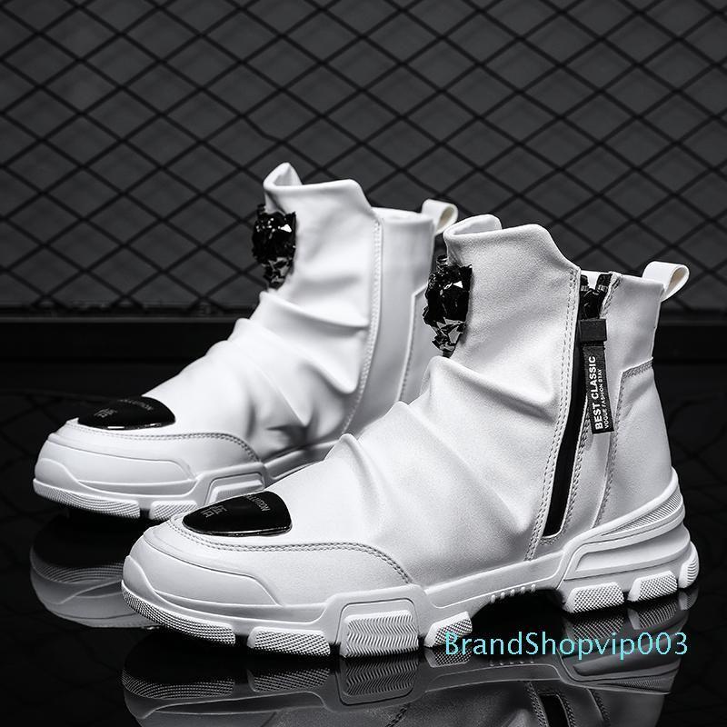 Printemps 2019 Chaussures Hommes Casual Mode Nightclub Hommes Zipper Bottes Noir Blanc cheville Hommes Bottes moto Pu cuir Punk