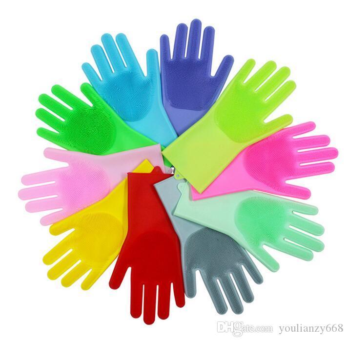 Новые конфеты цвет магия силиконовые многофункциональный бытовой мытья посуды очистки перчатки посуда для мытья посуды анти-скольжения два-в-одном мульти-весело